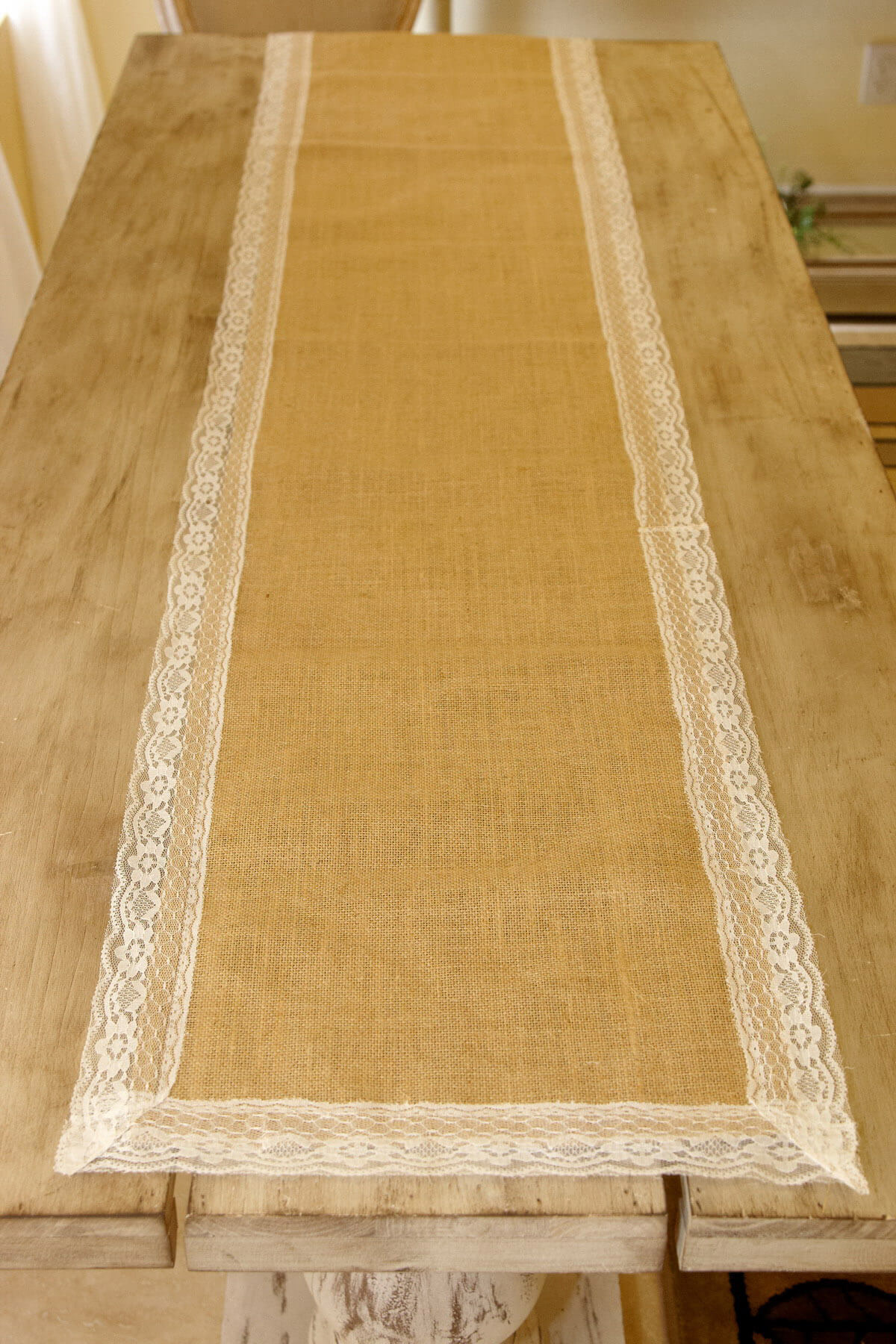 shabby chic chair yellow fabric desk burlap & lace table runner 16 x 74in