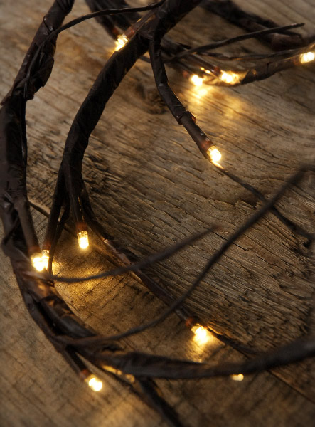 LED Brown Vine Garland 6 FT Battery Operated Warm White