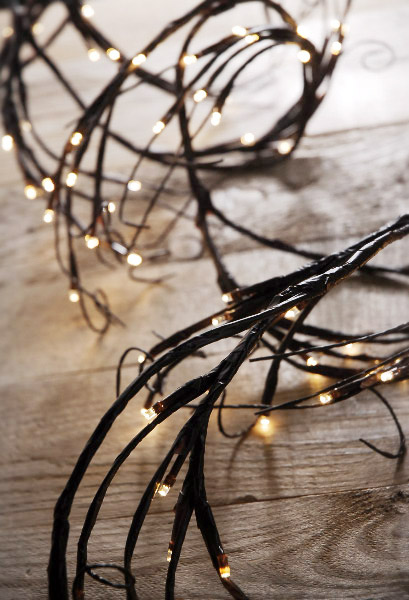 LED Branch Garland Lights Brown with 96 Warm White 6 Feet