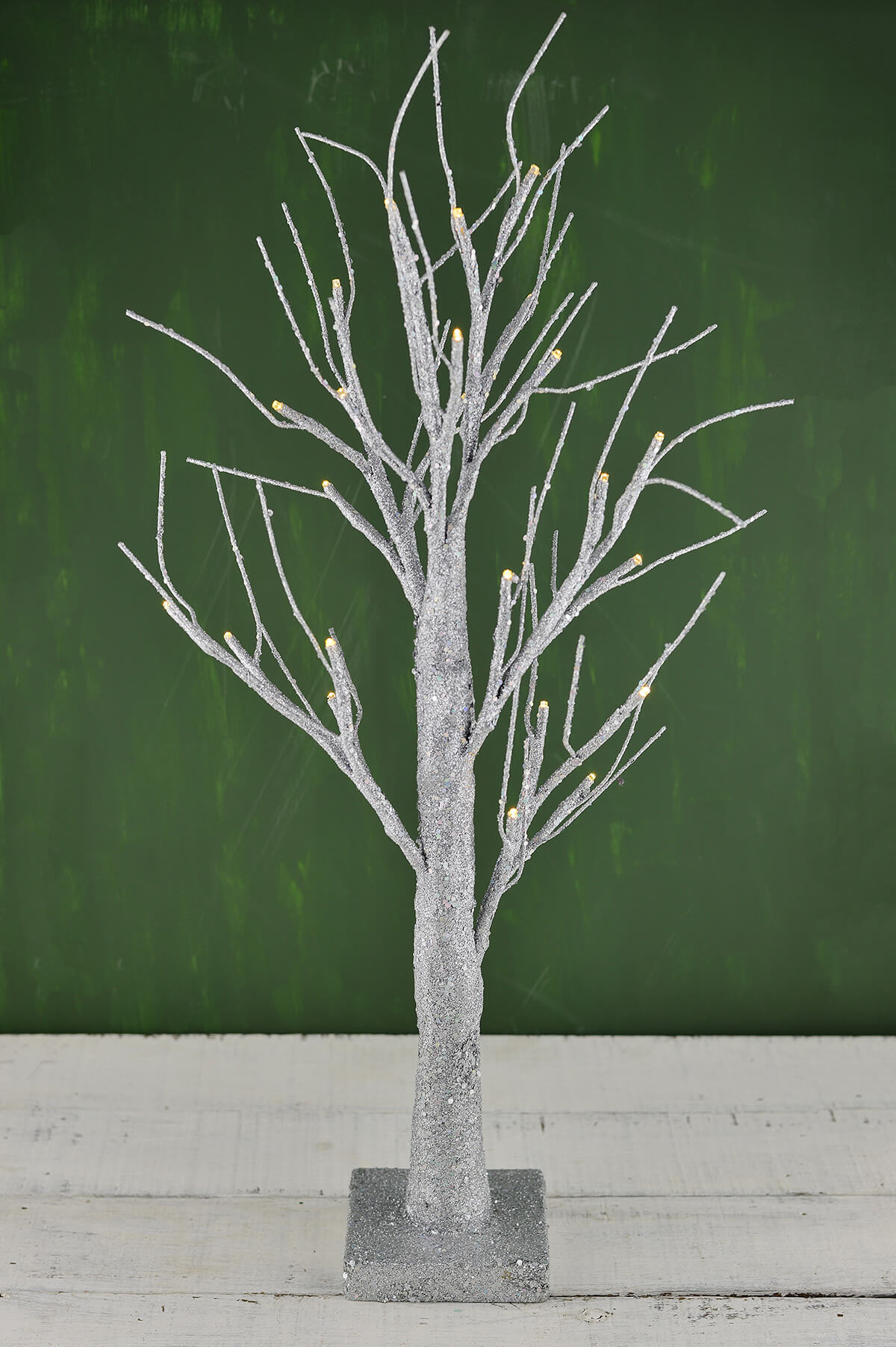 LED 24 Silver Glitter Tree Silver Battery Operated