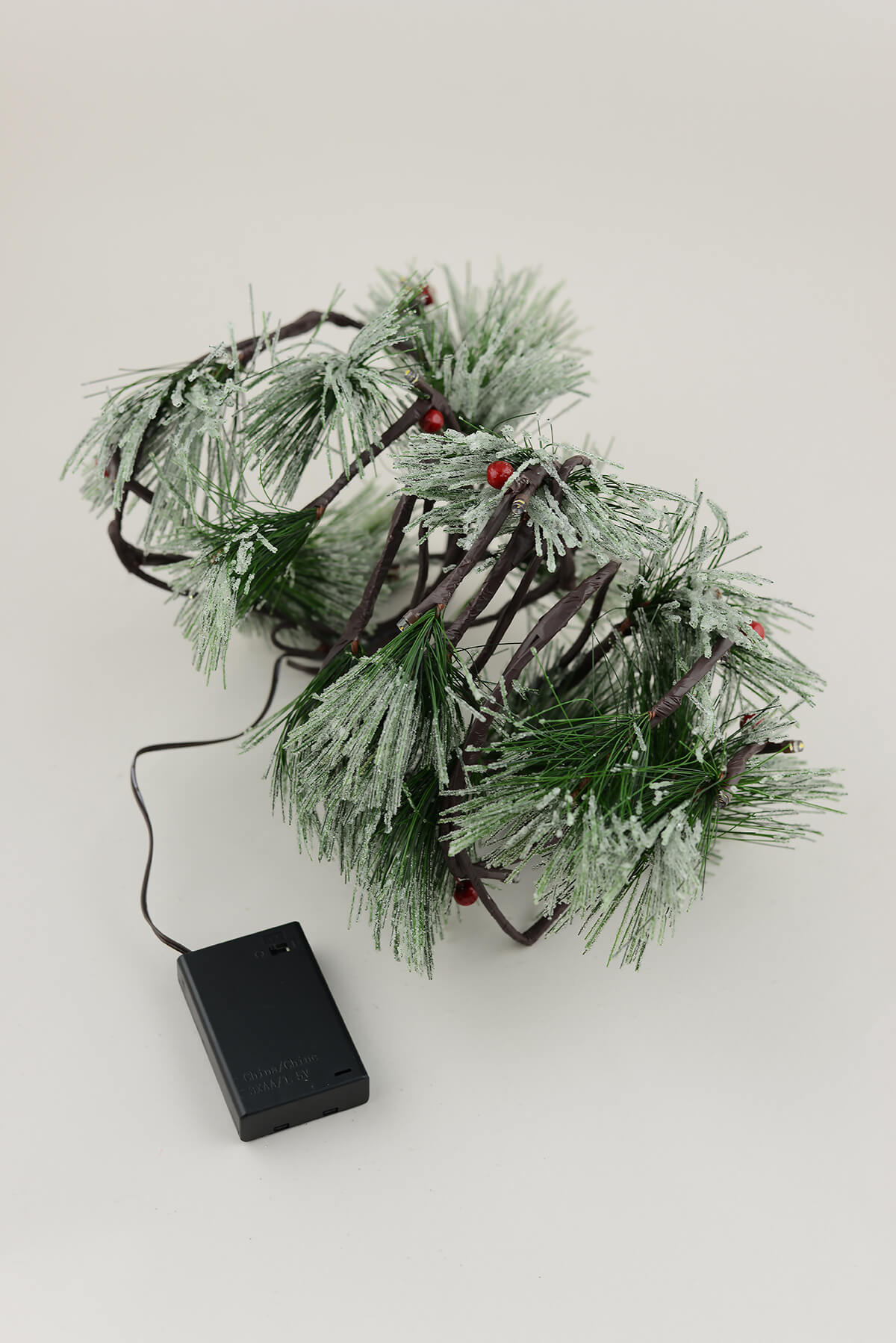 6FT PVC Pine Garland LED Frosted Battery Op Timer