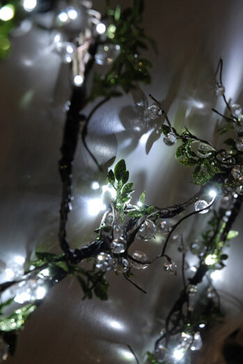 Crystal Beaded LED Vine String Lights with Leaves 72 Plug In