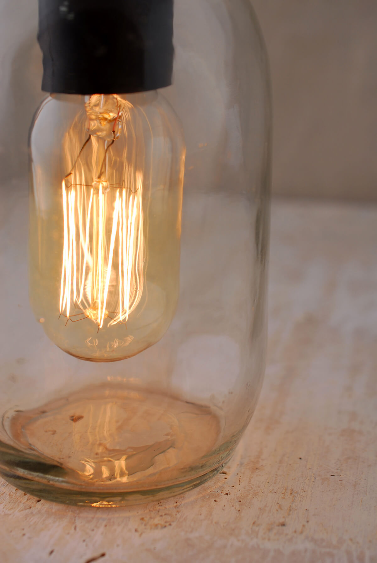 Gerson 65 Inch Electric Lighted Clear Mason Jar with Antique Light Bulb