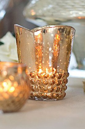 Array Glass Votive Cup in Rose Gold 37in