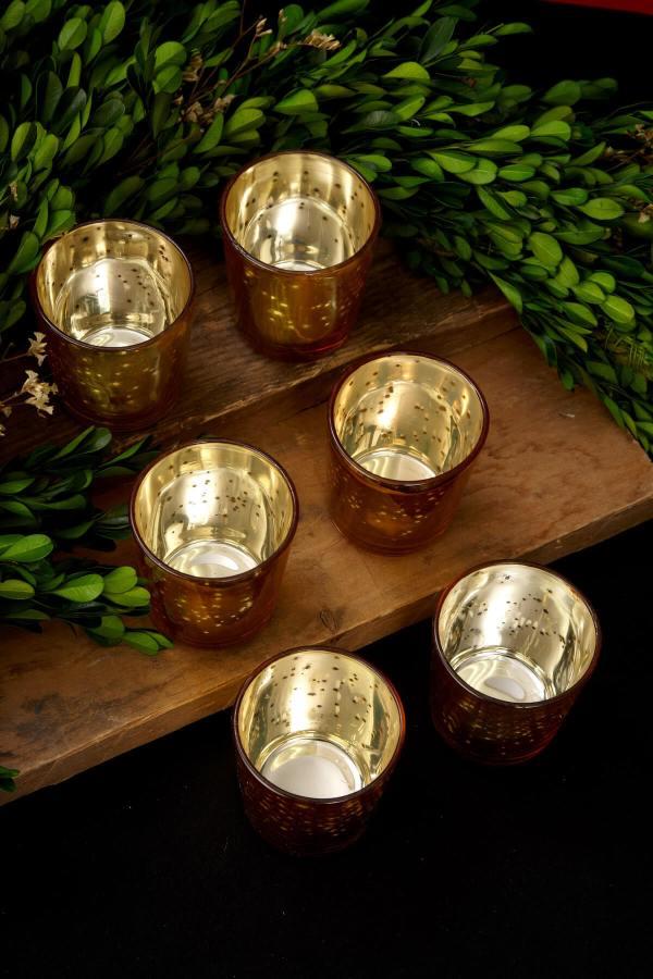 Mercury Glass Votive Holder Cups Gold Set Of 12