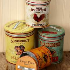 Canisters Kitchen Cabinet Supplies Four Retro Farmhouse Metal