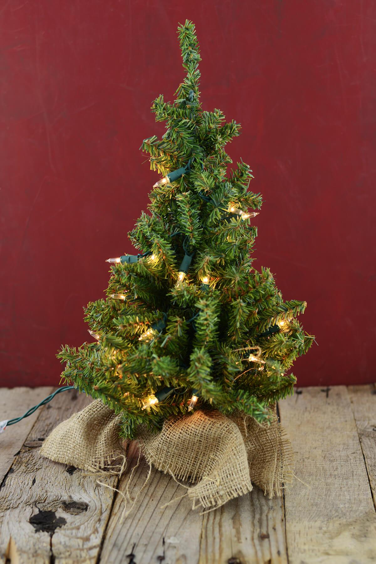 Prelit Artificial 18 Inch Pine Tree Burlap Sack Base Tabletop Christmas Tree