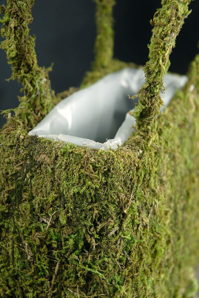 Natural Preserved Moss Covered Purse Planter 834in