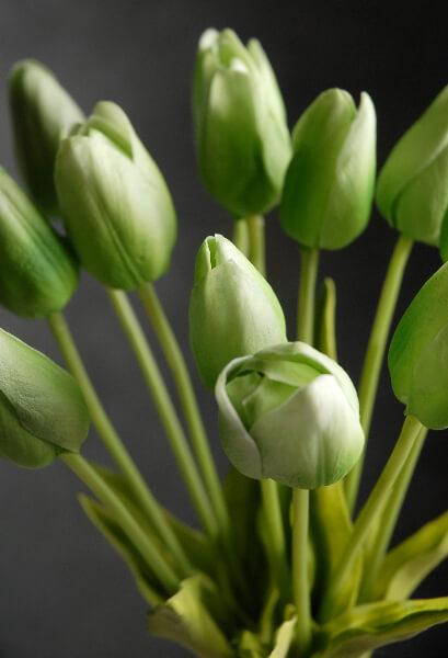 Natural Touch Silk Flower Mini Green Tulip Bouquet 14