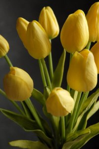 """Real Touch Silk Flower Mini Yellow Tulips Bouquet 15"""""""