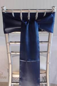 10 Navy Blue Satin Chair Sashes 6x106