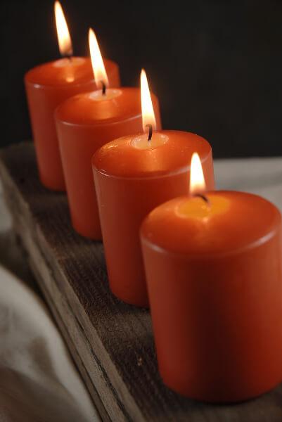 4 Large Votive  3in Pillar Candles Bright Orange