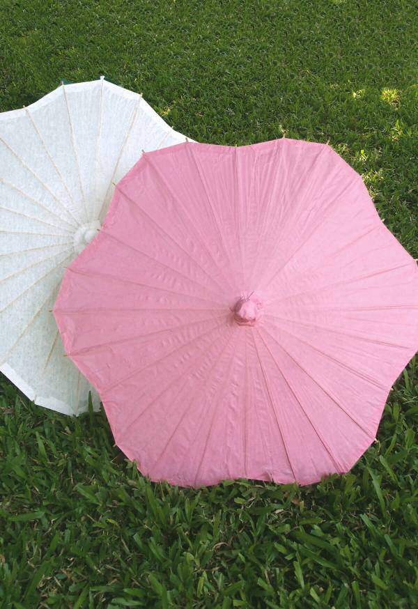 Large Pink Paper & Bamboo Parasol 32in