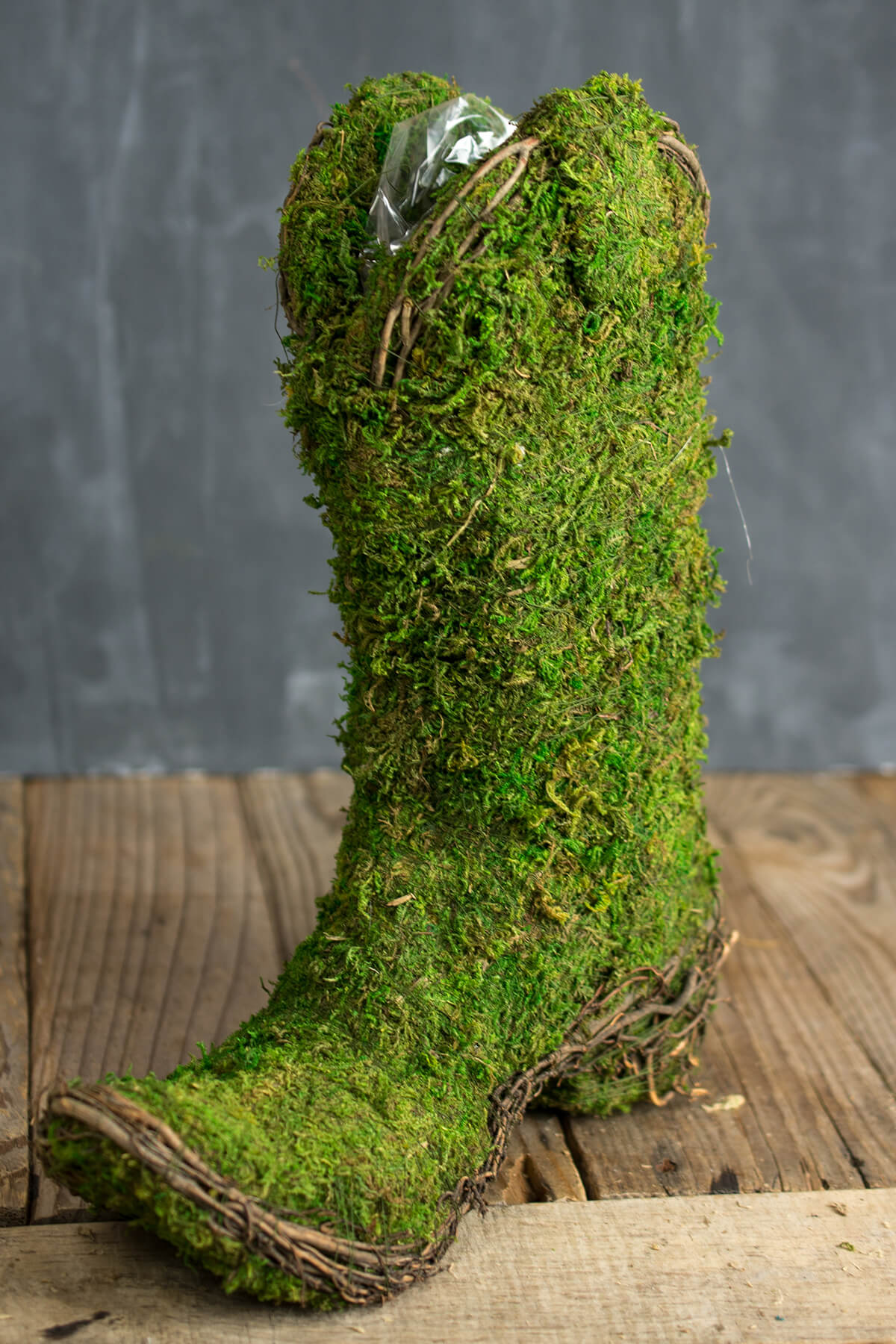 Moss Covered Cowboy Boot Topiary Pot 13in