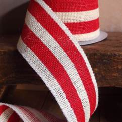 Shabby Chic Chair Slipcover For Dining Red & White Striped Burlap Ribbon 2.5