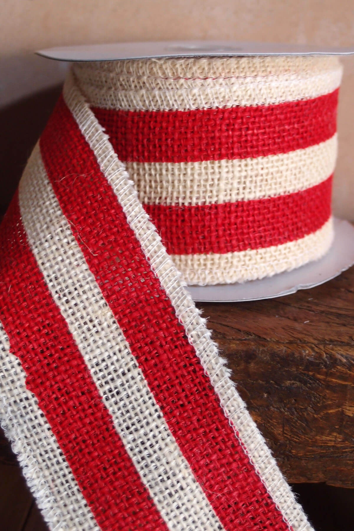 Red  White Striped Burlap Ribbon 25 Width x 10 Yds