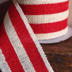 Chair Stands On Kids Pedicure Red & White Striped Burlap Ribbon 2.5