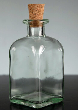 Roma Glass Rectangle Bottle with Cork 34 oz