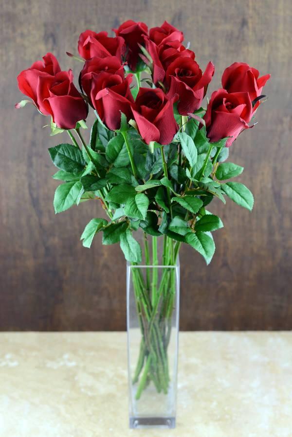 Dozen Long Stem Red Roses Artificial