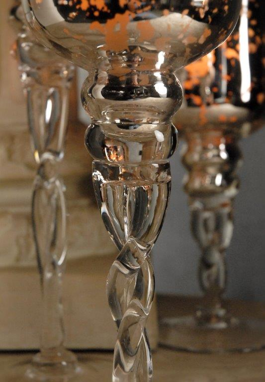 3 Silver Mercury Glass Pedestal Candle Holders 16 14 12