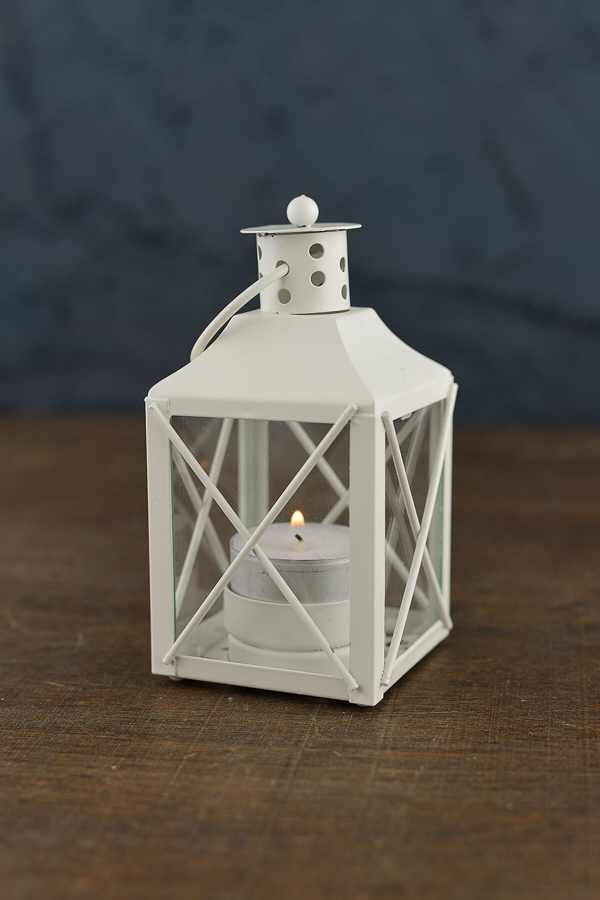 12 White Metal Amp Glass Tealight Lanterns