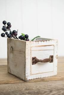 Wood Drawer Planter Boxes 4.5 Square White