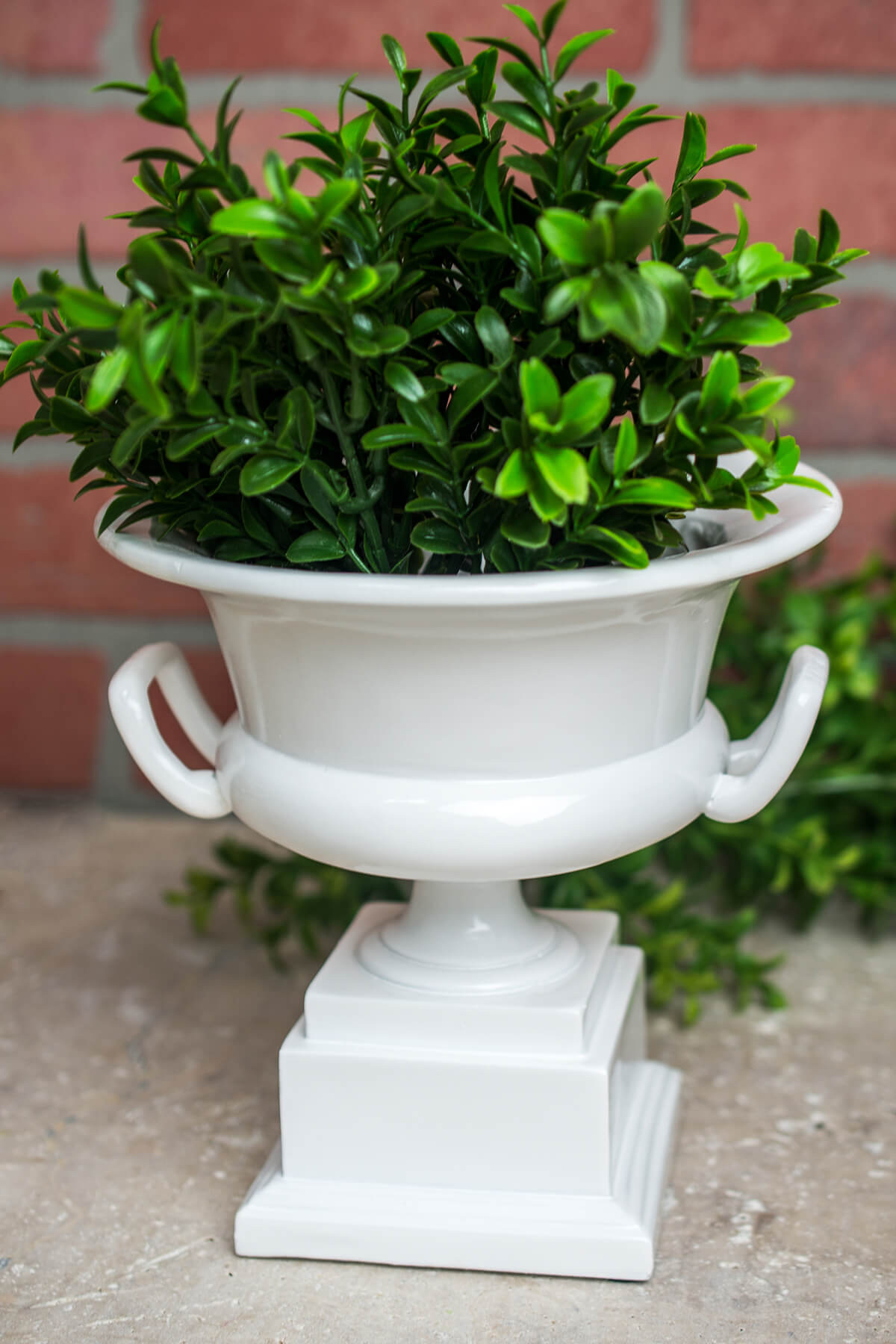 White Pedestal Urn Waterproof Planter 7in