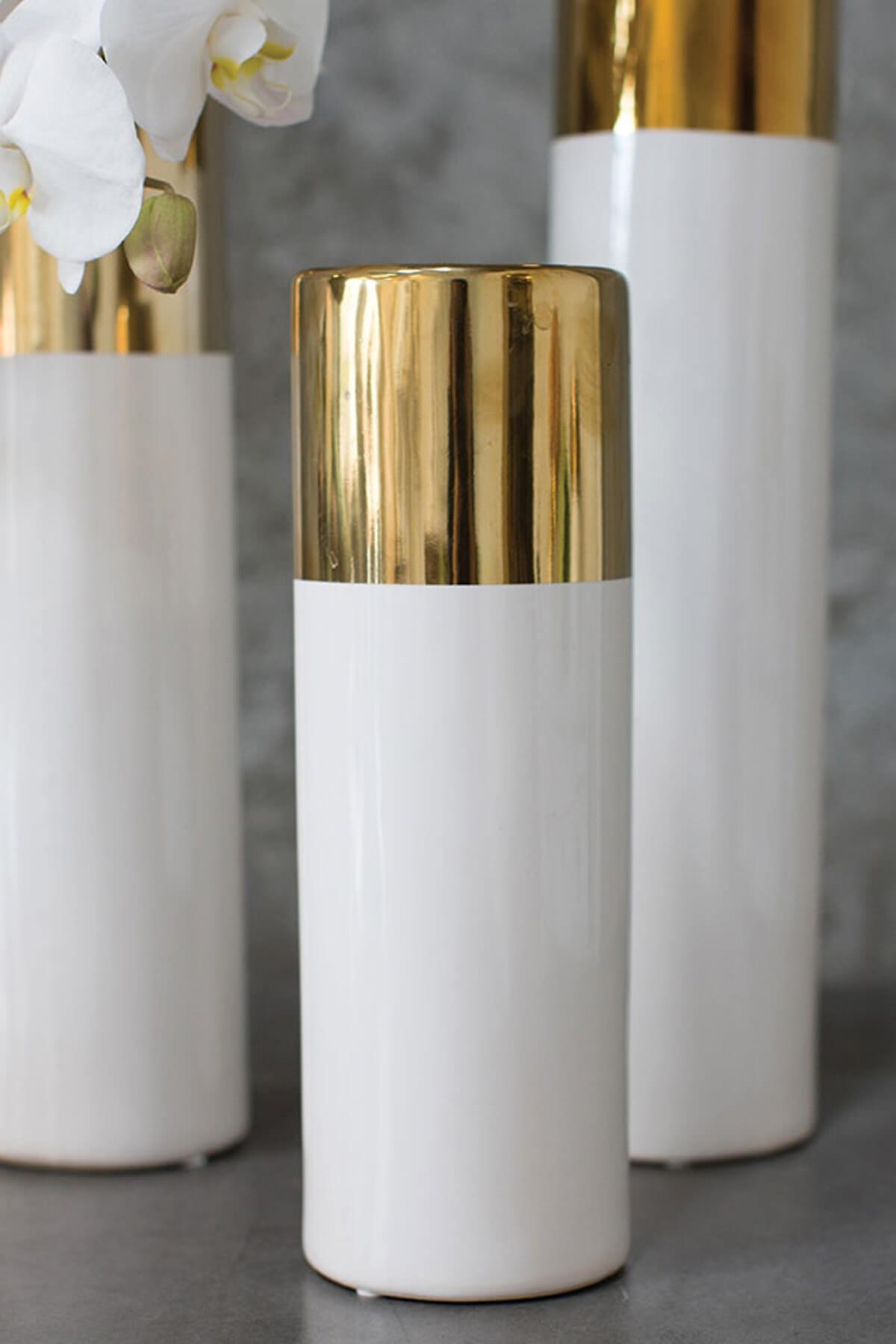 White Amp Gold 12in Klein Vase
