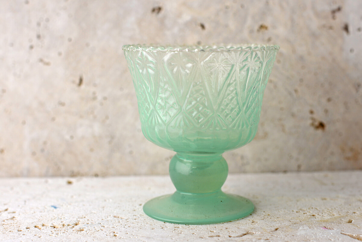 Mint Green Glass Jazzlyn Compote 4