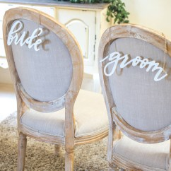 Wedding Bride And Groom Chairs Modern White Leather Desk Chair Signs Wood Script