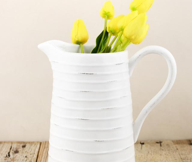 Farmhouse White Ceramic Pitcher  In