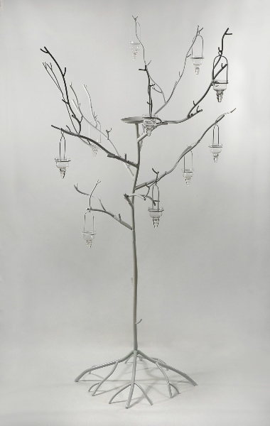 White Metal Display Candle Tree 71in Event Decor