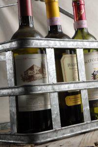 Milk & Wine Bottle Metal Caddy with Wood Handle