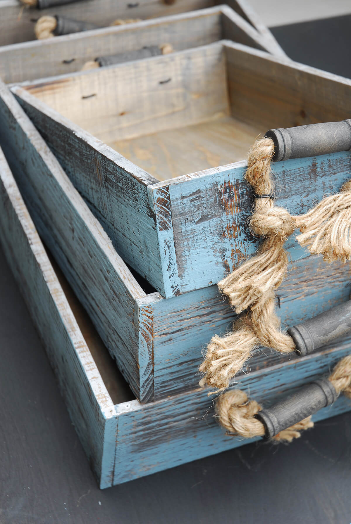Wood Trays With Rope Handles