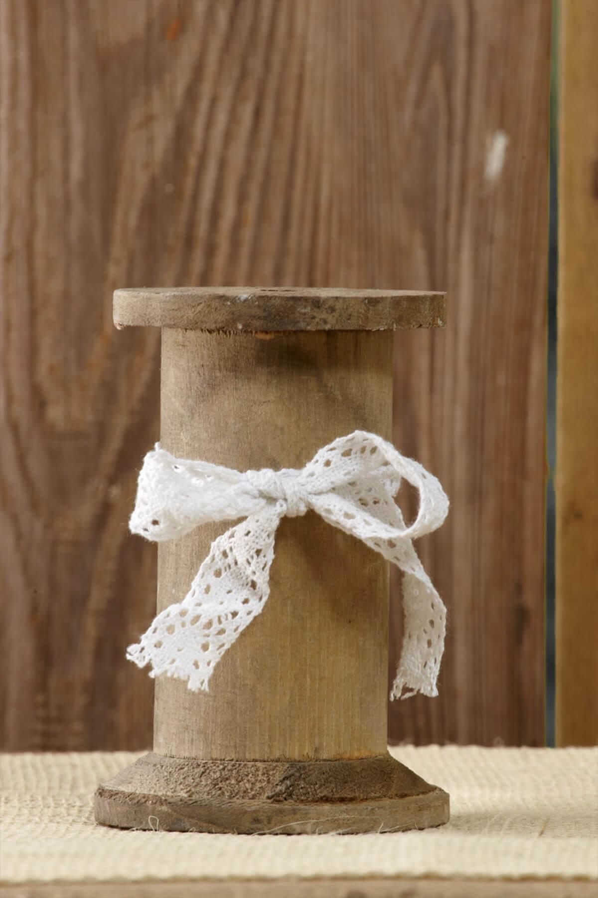 Wood Spool Candleholders 5in
