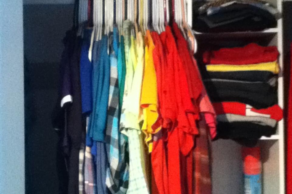 Color coordinated closet - DIY