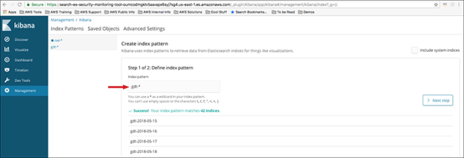"""Figure 13: The """"Create index pattern"""" page"""
