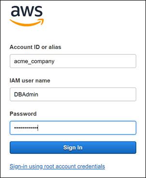Figure 7: Entering your IAM account details
