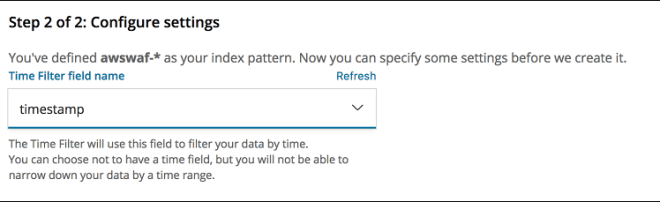 Figure 10: Configuring a time filter for the index pattern