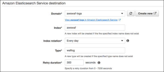 Figure 5: Setting up Amazon ES as Data Firehose log destination