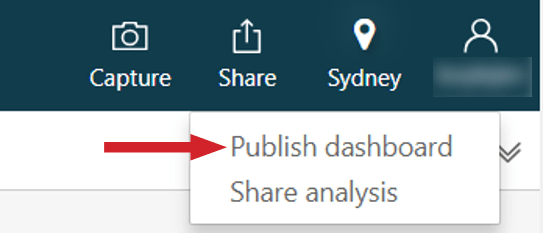 "Figure 16: Publish your dashboard using the ""Share"" option of the Amazon QuickSight menu"