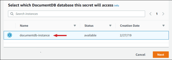 Figure 4: Select the instance you created