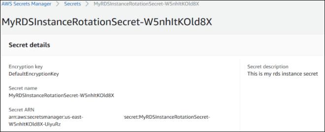 Figure 8: Secret details and rotation information