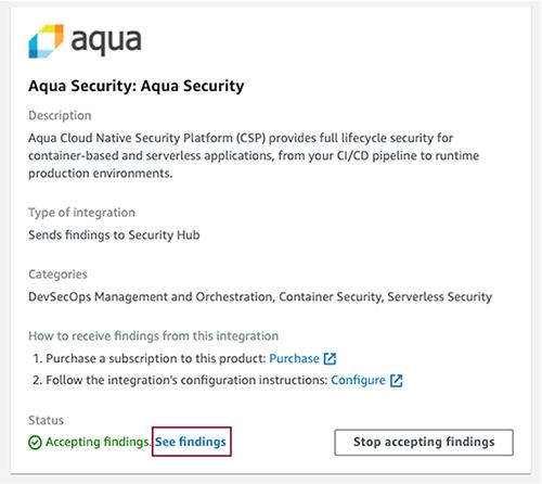 Figure 7: Aqua Security integration card