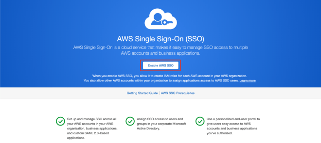 Figure 2: AWS SSO service welcome page
