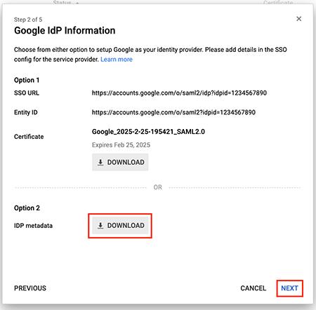 Figure 9: Download IdP metadata