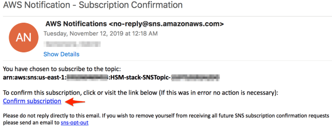 Figure 4: Select 'Confirm subscription' to subscribe to the SNS topic