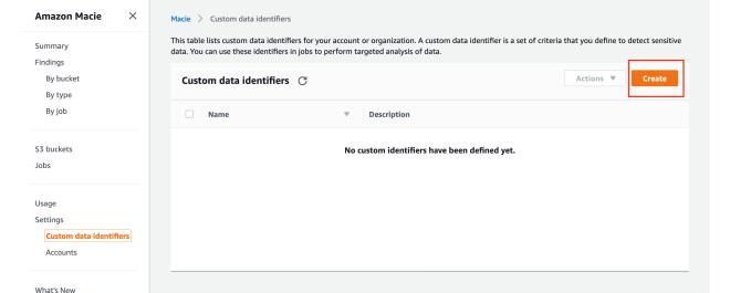 Figure 3: Custom data identifiers console