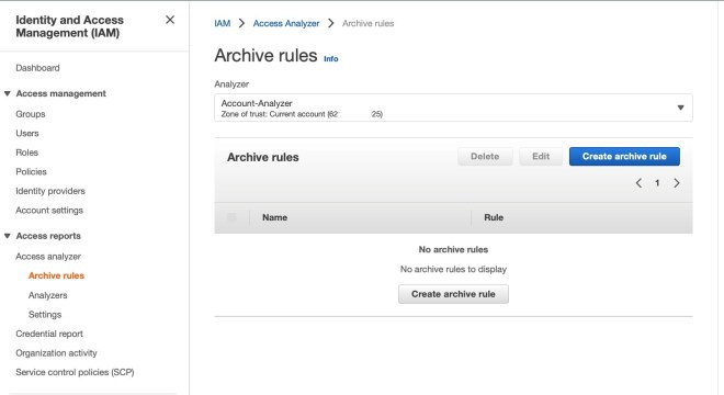 Figure 1: Create archive rule