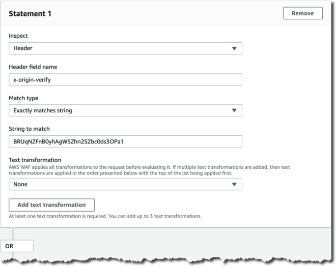 Figure 9: AWS WAF web ACL rule statement